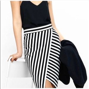 BLUE STRIPED PENCIL WORK SKIRT